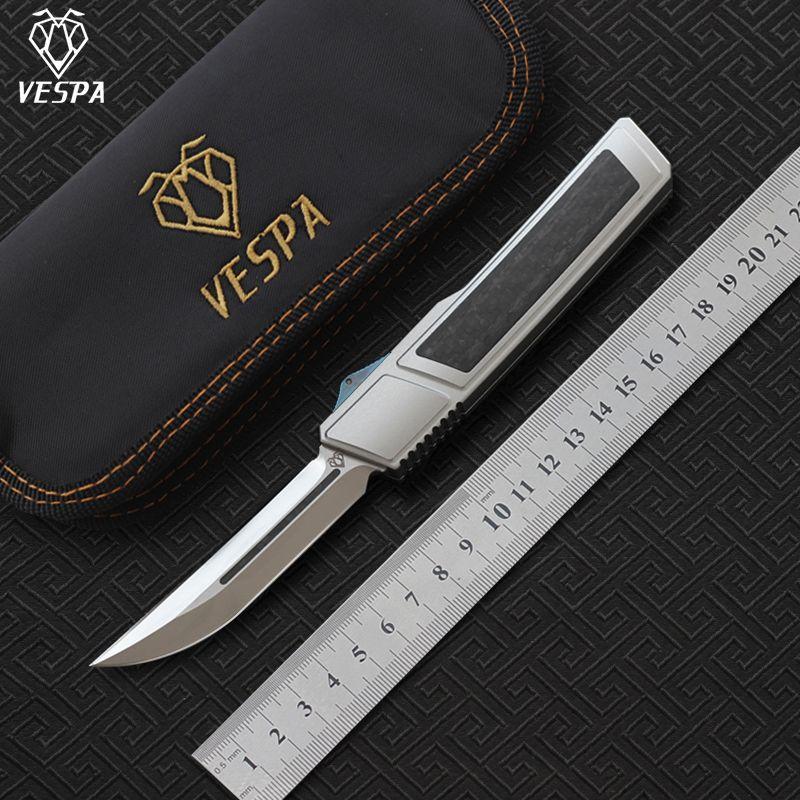VESPA Ripper double couteau pliant lame: M390 (Satin) Poignée: 7075Aluminum + CF, la survie de camping de plein air Couteaux outils EDC