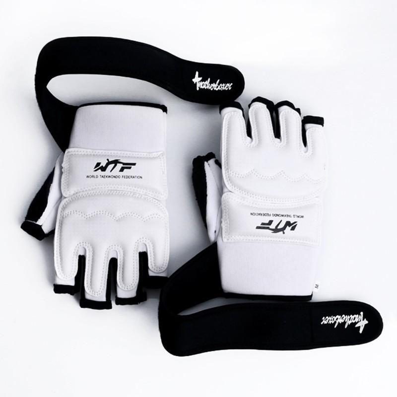 htsport Crianças Crianças metade do dedo luvas de encaixotamento Mitts Sanda Karate Saco de Areia Taekwondo Protector Idade 3-12