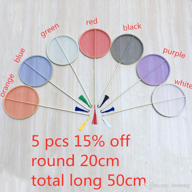 Classical Color Round Fabric Hand Fan Long Handles Chinese Dance Fan traditional craft Ladies Blank Hand Fans