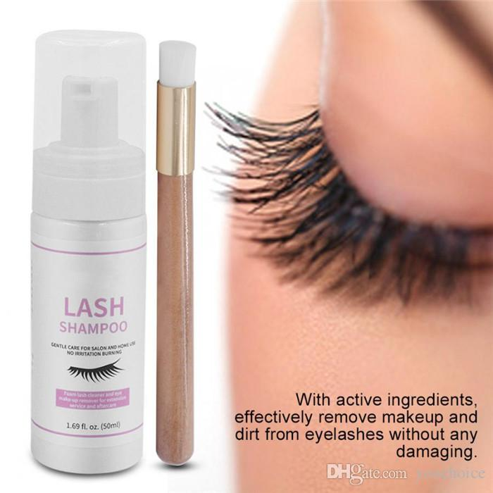 ماكياج Melao 50ML رمش منظف رغوة الشامبو مضخة تصميم تنظيف العين جلدة رمش تمديد عيون مع مجموعة فرشاة التجميل 6sets