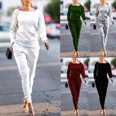 2019 new casual round collar pit stripe sport suit women's solid color fashion suit