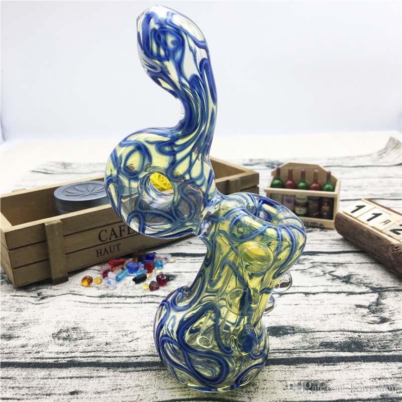 7 pouces style unique avec tuyau à la main en forme de serpent pipe en verre de tabac pour fumer utilisation tuyau main en verre