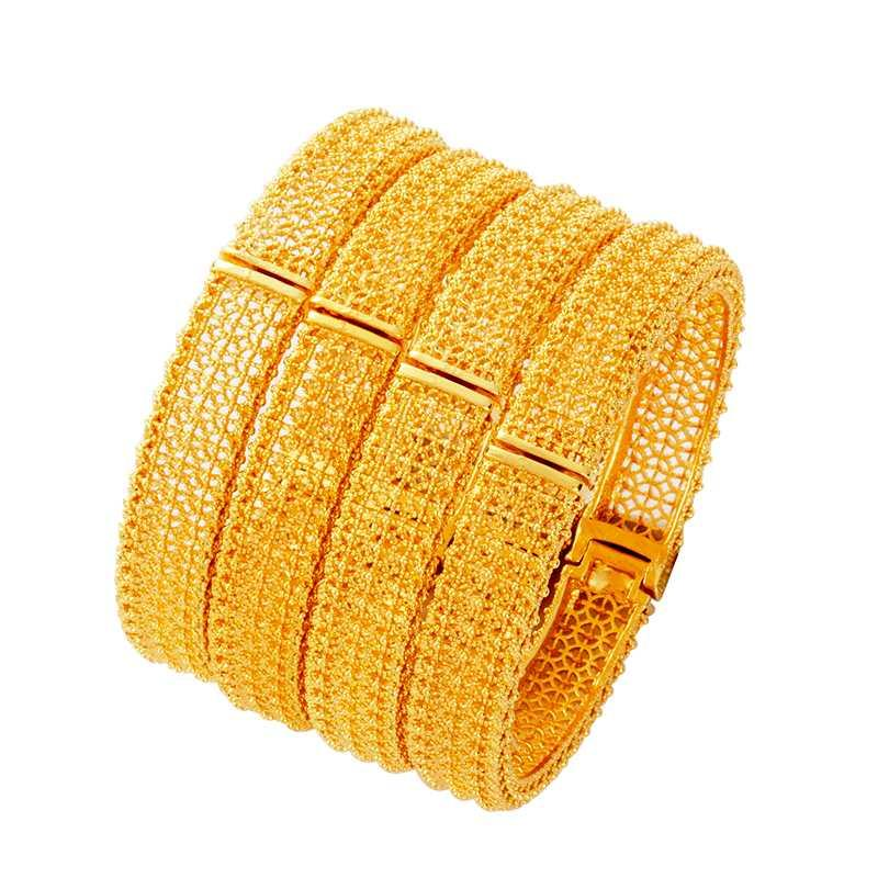 4pcs/lot Wedding Bride Ethiopian Bracelet Gold Dubai Bangles for Women Africa Bangle Arab Jewelry Gold Charm