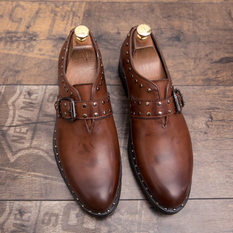 mocasines de remache de los hombres vestido negro zapatos cuero genuino de la vendimia del otoño clásico sin cordones minimalistas cómoda