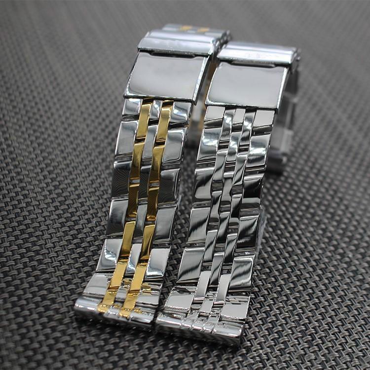 Accesorios reloj 18 mm 20 mm 22 mm 24 mm correa pulido acero inoxidable sólido de la mariposa de la hebilla de correa de pulsera para Bretiling