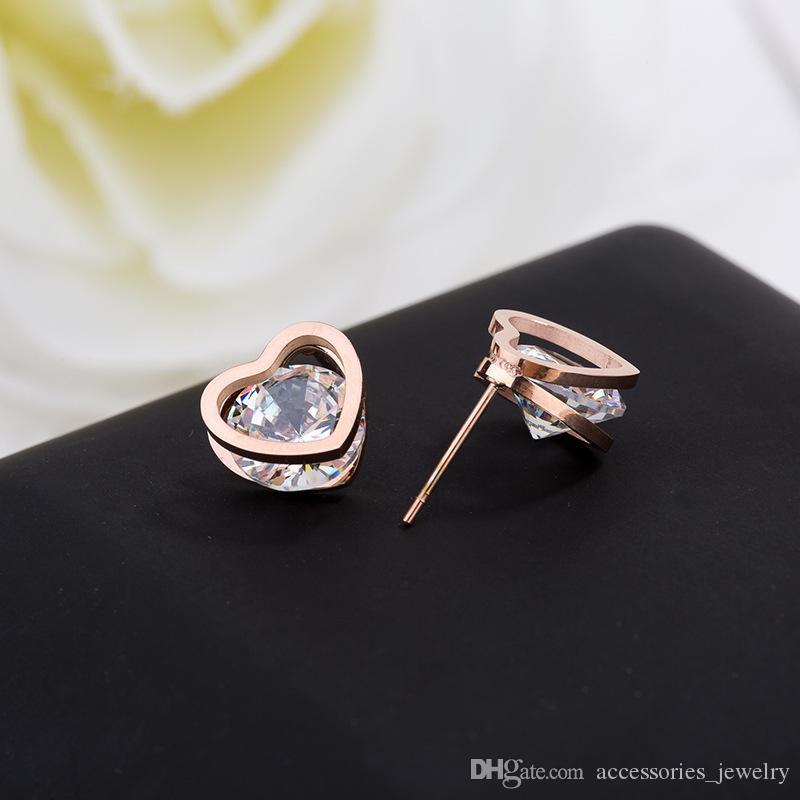 Best Design Luxury Design Womens Simple Elegant Heart Stainless Steel Crystal Zircon Stone Charm Earring for Sale