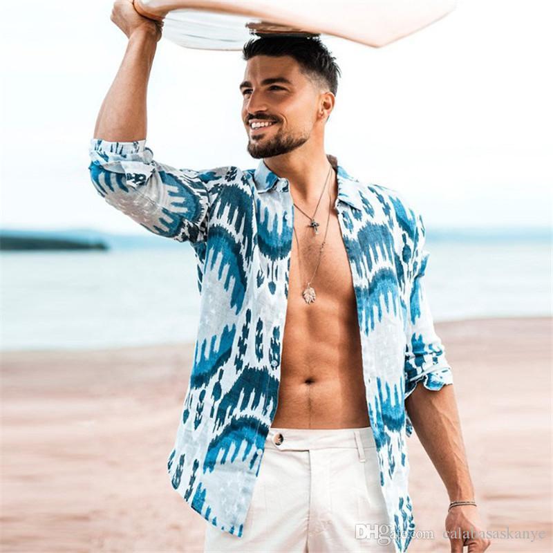 3D цифровой печати Mens Casual рубашки Мода тонкий MULIT Печать Мужских рубашек с длинным рукавом Повседневных Мужчин Одежда