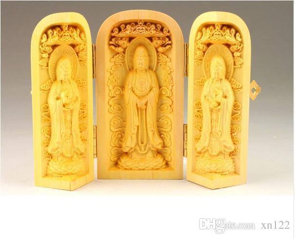 MANUAL SCULPTURE DELICATE BOXWOOD BUDDHA STATUE BOX