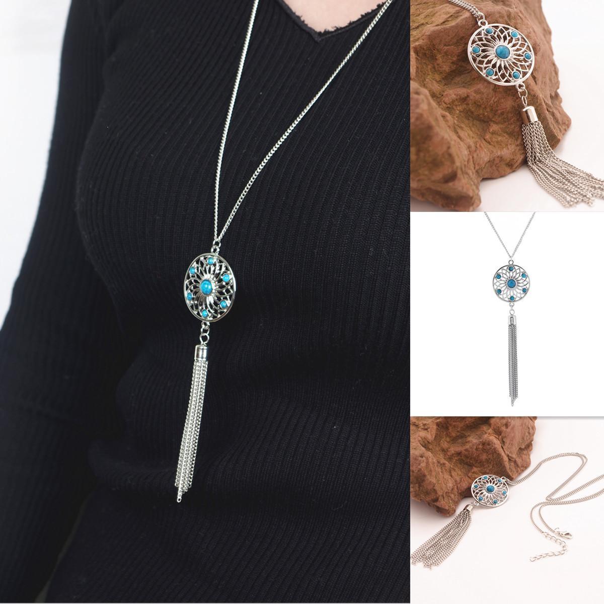 Pandantifler Kolye Bohemia Vintage Kadınlar Mavi Boncuk Gümüş Kaplama Hollow Out Çiçek Püskül Zincirler Clavicle Kolye Takı Toptan SN828