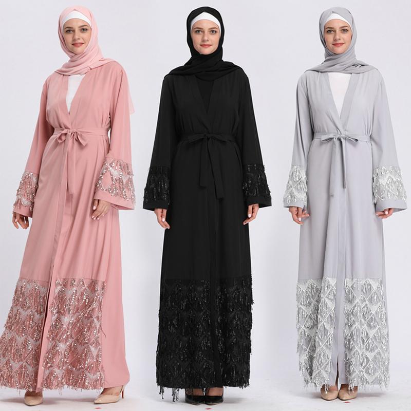 Kaftan Abaya lentejuelas musulmán Hijab vestido Jilbab Qatar Emiratos Árabes Unidos bata Dubai Caftan Marocain Abayas para mujeres ropa islámica turca