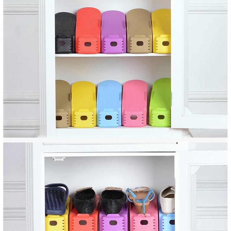 Großhandel Kunststoff Schuhe Lagerregal Double Wide Schuhhalter Platzsparend Schuhe Organizer Ständer Regal Für Wohnzimmer Von Ys_shop1, $8.42 Auf