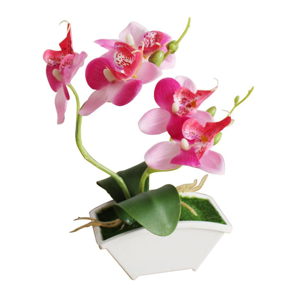 Plantas en maceta Simulación Flor artificial Artesanía de oficina Adorno de escritorio Hogar Mariposa Orquídea Regalo realista Accesorios de fotografía