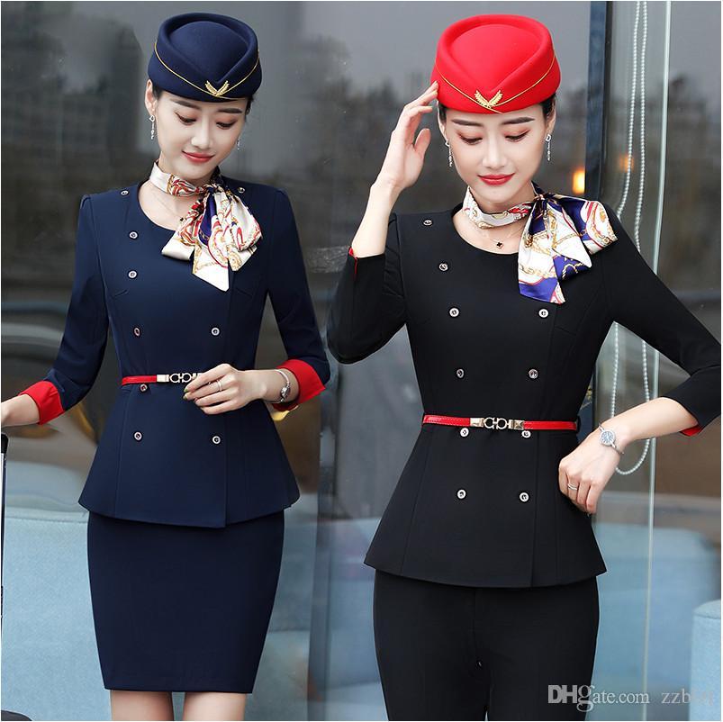 Primavera Autunno professionale vestito femminile vestito hostess Pantaloni Cappello uniforme lavoro femminile Jacket abiti da lavoro cosmetologo salone di bellezza