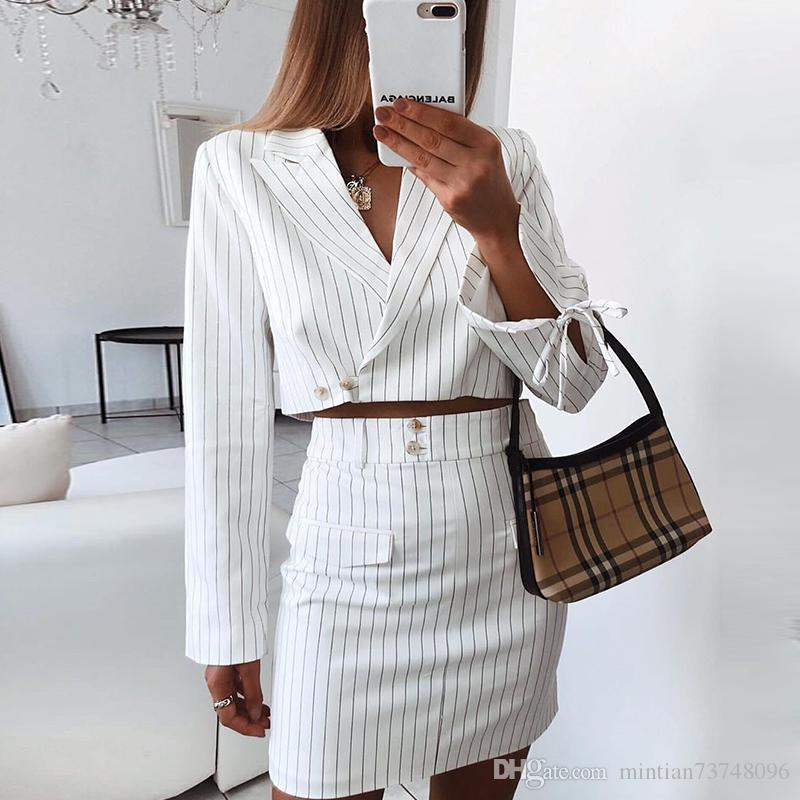 Женский полосатый пиджак 2019 новые европейские и американские моды темперамент с длинными рукавами лацкане куртка из двух частей