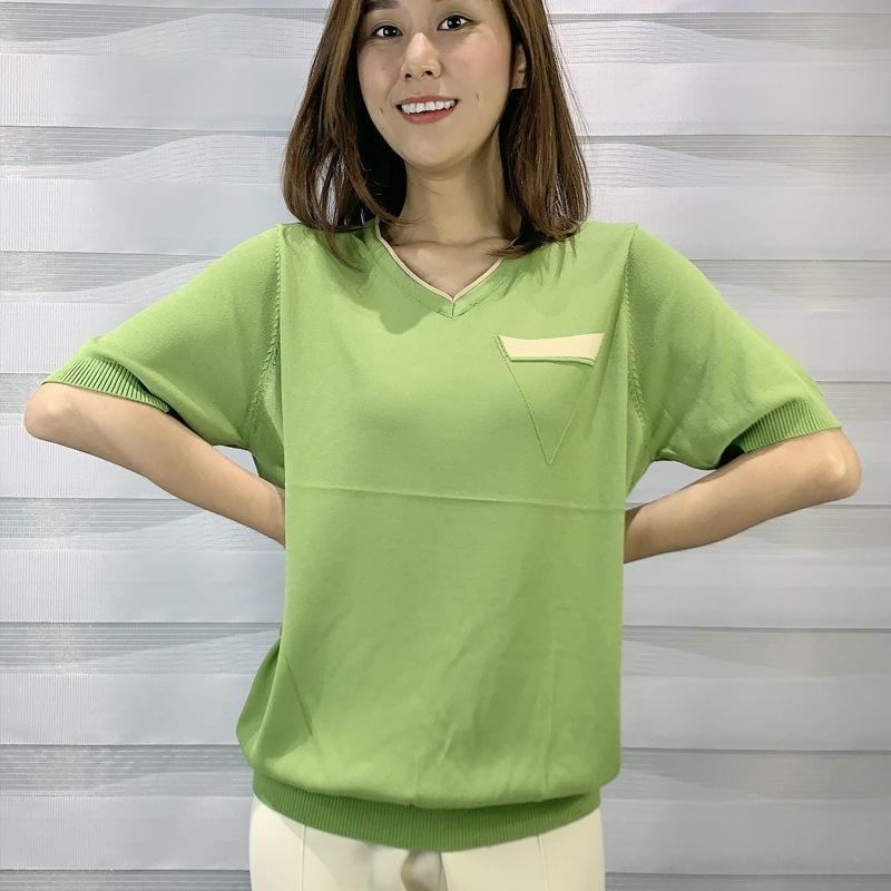 Triangle 2020 frais de style coréen et la soie glacée douce pull-over col rond pull-over t-shirt T-shirt Loose Women
