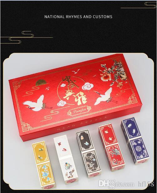 Nuevo estilo de maquillaje estilo chino Forbidden Palace caja de regalo de lápiz labial Hidratante de larga duración hidratante impermeable que no deja marcas (5pcs / box)