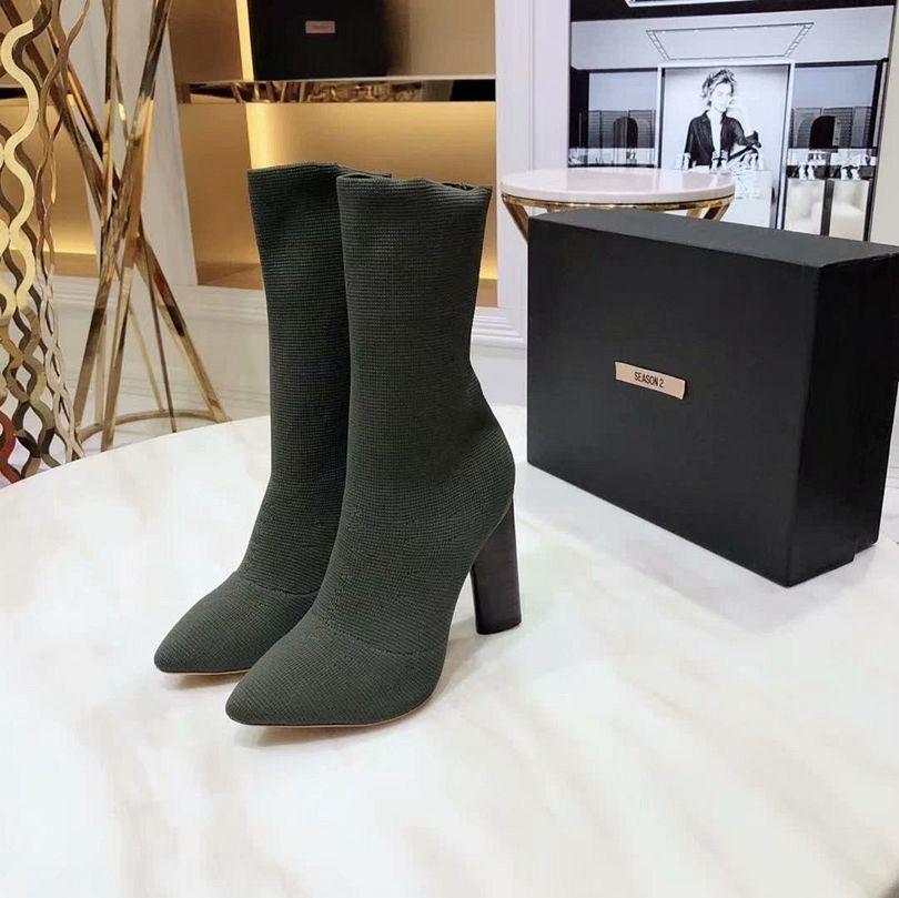 2019 новых женщин сапоги весна мода Бесплатная доставка ботинки джинсы с полукруглой головкой Fine каблука Высокий каблук короткий ствол боковой молнии Open Toe корейский стиль