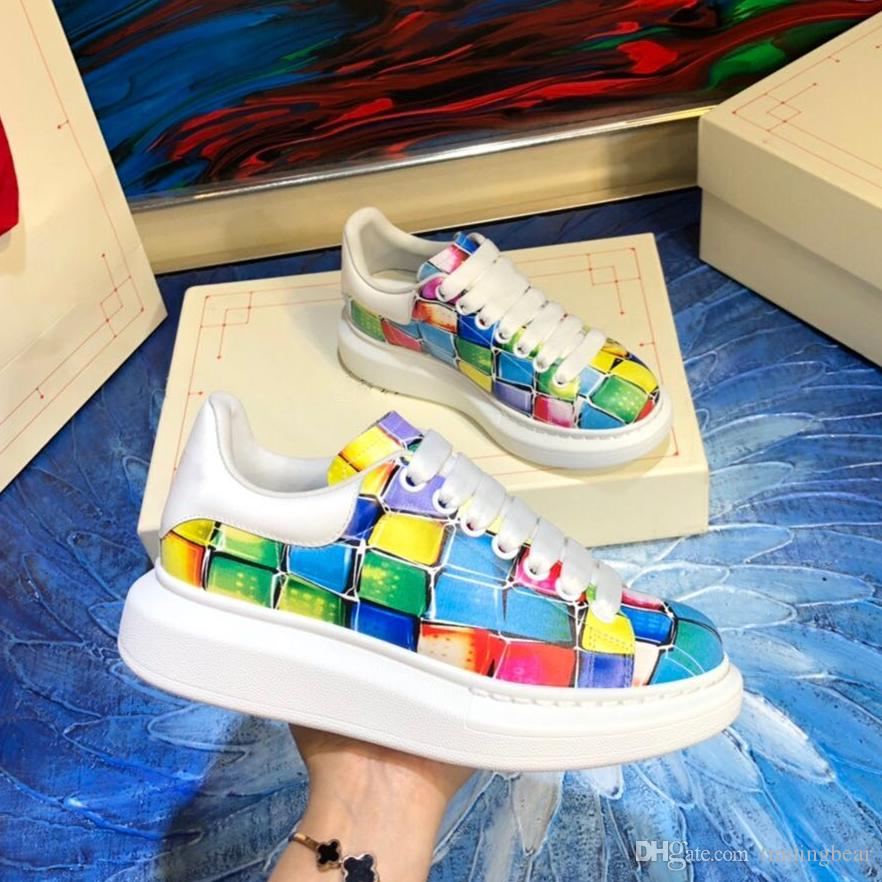 exclusive edition colorful printed oversized sneaker white calf leather lace up sneakers luxury men women designer sneakers