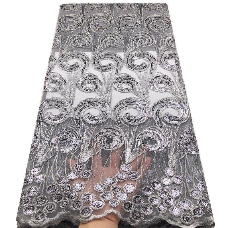 2020 di alta qualità francese nigeriano paillettes merletto netto, africano tulle di maglia sequenza di tessuto di pizzo per 5yards vestito da partito / lot mv514 grigio