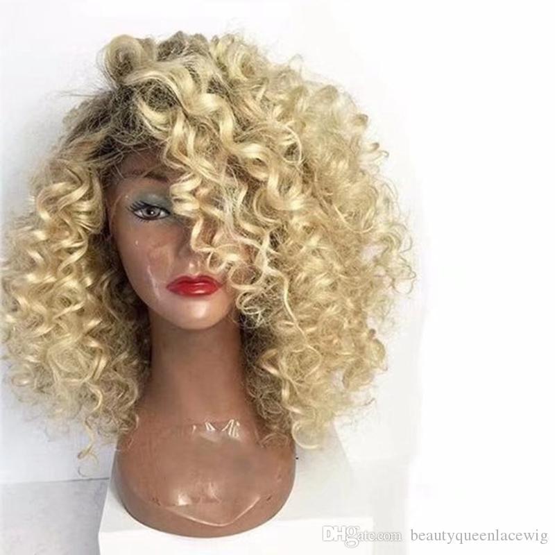 Short Bob Perücke Spitze vor Dunkle Wurzeln Ombre Blonde 14inches kurzes, krauses Haar Seite gekämmt hitzebeständige synthetische Perücke für Frauen