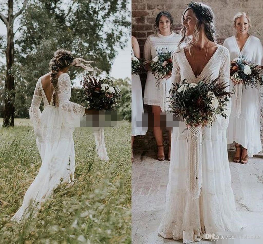 Vestidos de boda de país 2019 Con cuello en v de encaje de ganchillo Vintage verano Boho Vestidos de novia Francia encantador caliente Gelinlik Vestido De Noive