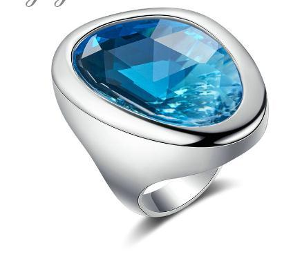 2020 Clear Ocean Blue Ring for Women Fashion Ring Statement Jewelry Silver Color Big Glass Stone Ring R2133