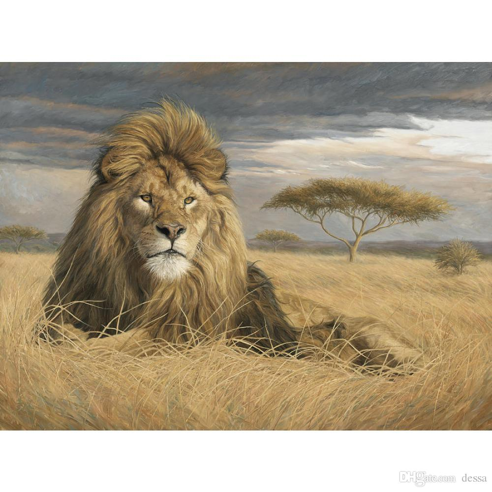Portrait oil painting King Of The Pride modern animal art Hand painted lion painting for living room Wall decor