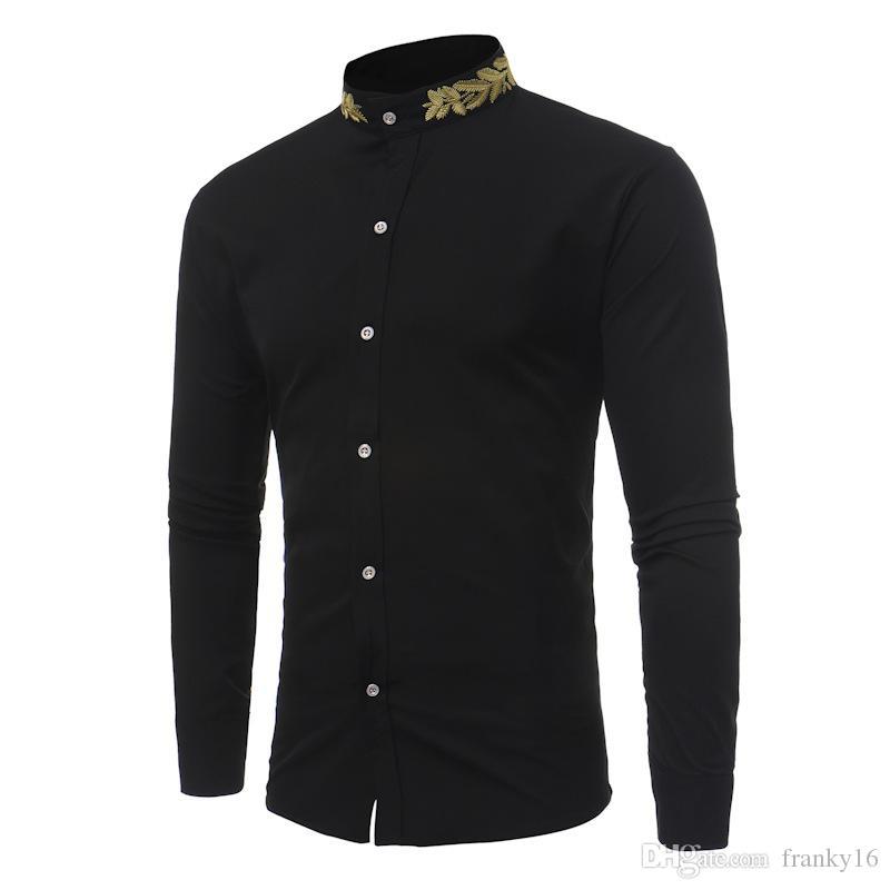 Nouveau mode Casual Personnalité Blé Oreille Broderie Col Montant Chemise Automne Hiver Mâle Manches Longues Tops Shirt