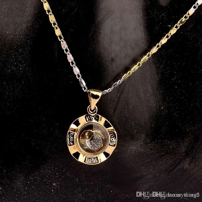 Lucky Break collana in oro placcato oro di colore giallo e bianco 12 segni zodiacali fortunati uomini e le donne di rottura