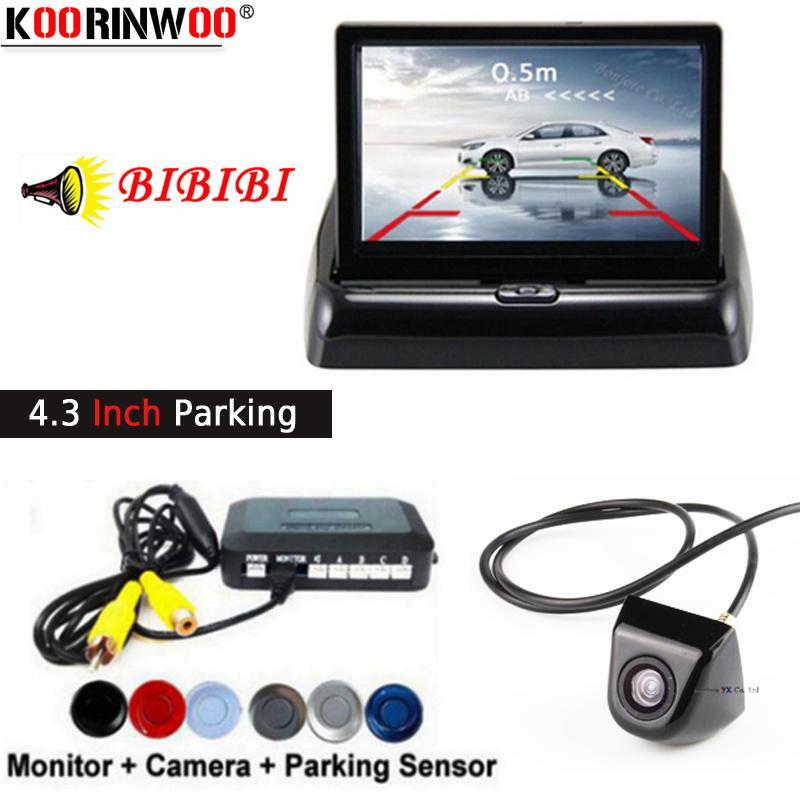 Koorinwoo Parktronics HD de 4.3 polegadas Car Digital Monitor de 800 * 480 Estacionamento Sensor 4 Radares Buzzer Apeaker BIBI + Câmara de visão traseira