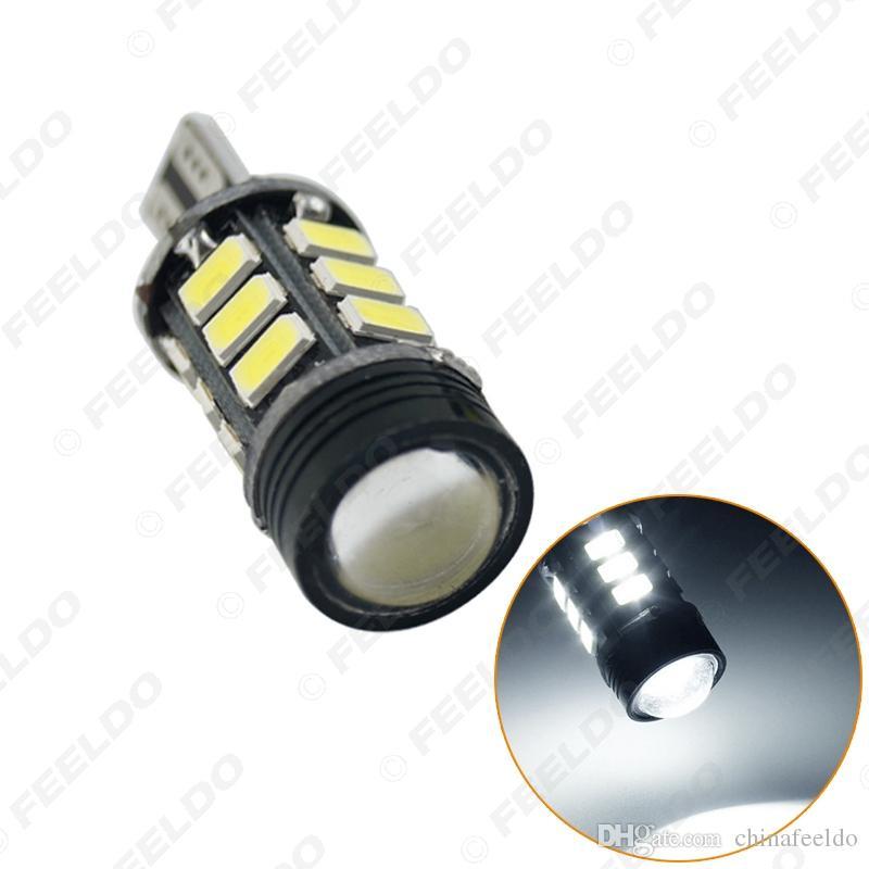 2PCS T15 5730SMD 15LED + 1.5W 9W سيارة الوتد LED ضوء في canbus لا خطأ-LED لمبات مع عدسة الأبيض # 2256