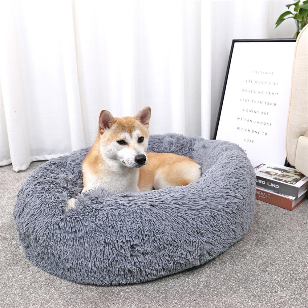 Luxe chien lits ronds Maisons Chaton à long laine Puppy Kennel Coussin lavable pour serviettes Chiens