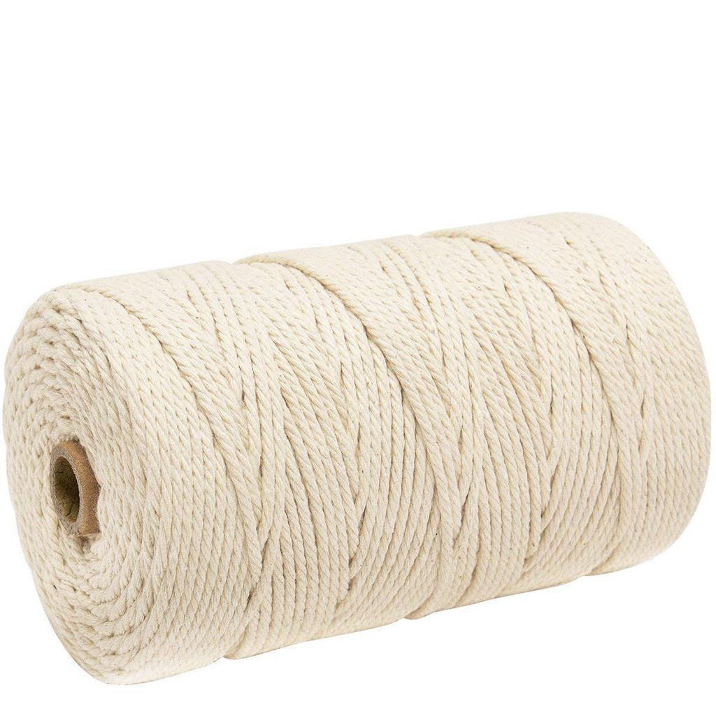 200M دائم القطن الأبيض الحبل الطبيعية بيج الملتوية حبل الحبل كرافت مكرم سلسلة DIY اليدوية المنزل تزويد ديكور 3MM 4.43