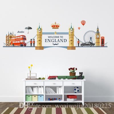 20190621 Romântico Londres Paisagem Adesivo de Parede Quarto TV Fundo Decoração Removível Auto-adesivo Wall Sticker