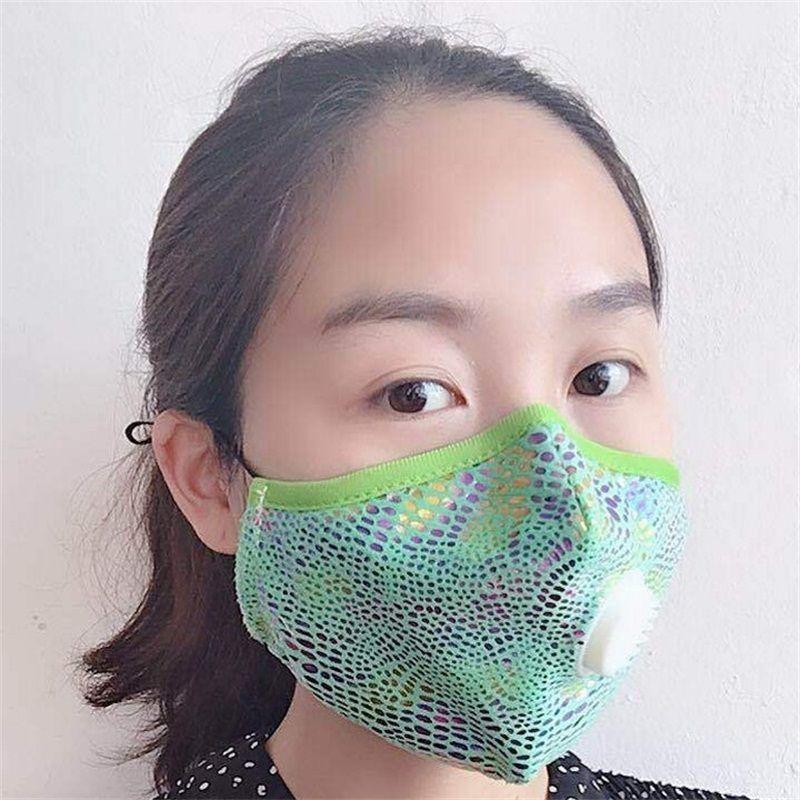 Moda ışıltılı Koruyucu Yüz Erkekler Kadınlar 10xh E1 için Vana toz geçirmez Respiratörü Yeniden kullanılabilir Bisiklet Ağız Maskeleri Nefes Maske