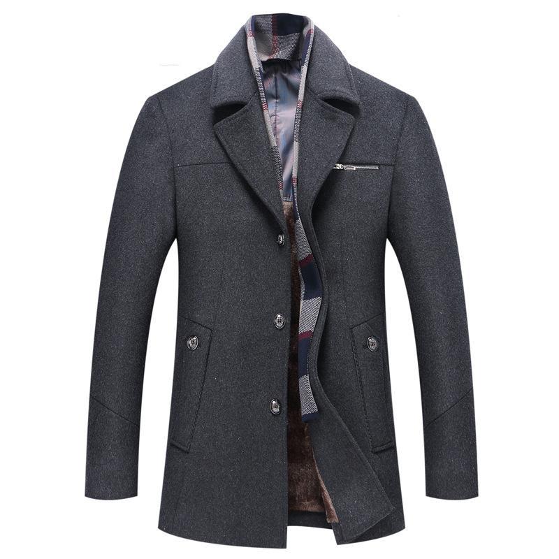 2017 Winter New сгущает Medium Long Шерстяные пальто Мужчины Превосходное качество Съемные шарф каминные Herren Lang