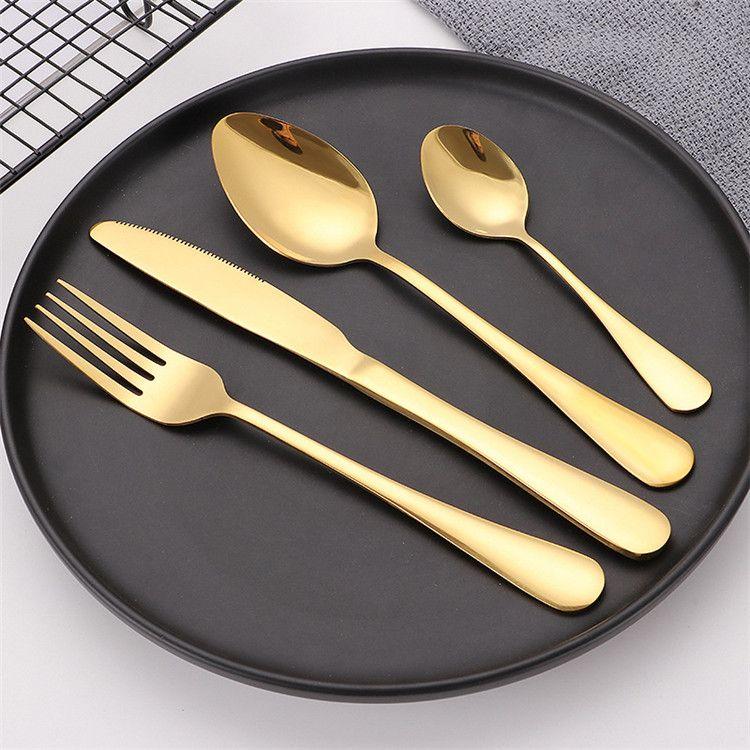 Conjunto de louça de talheres de aço inoxidável de ouro de ouro de 4 partes seguras