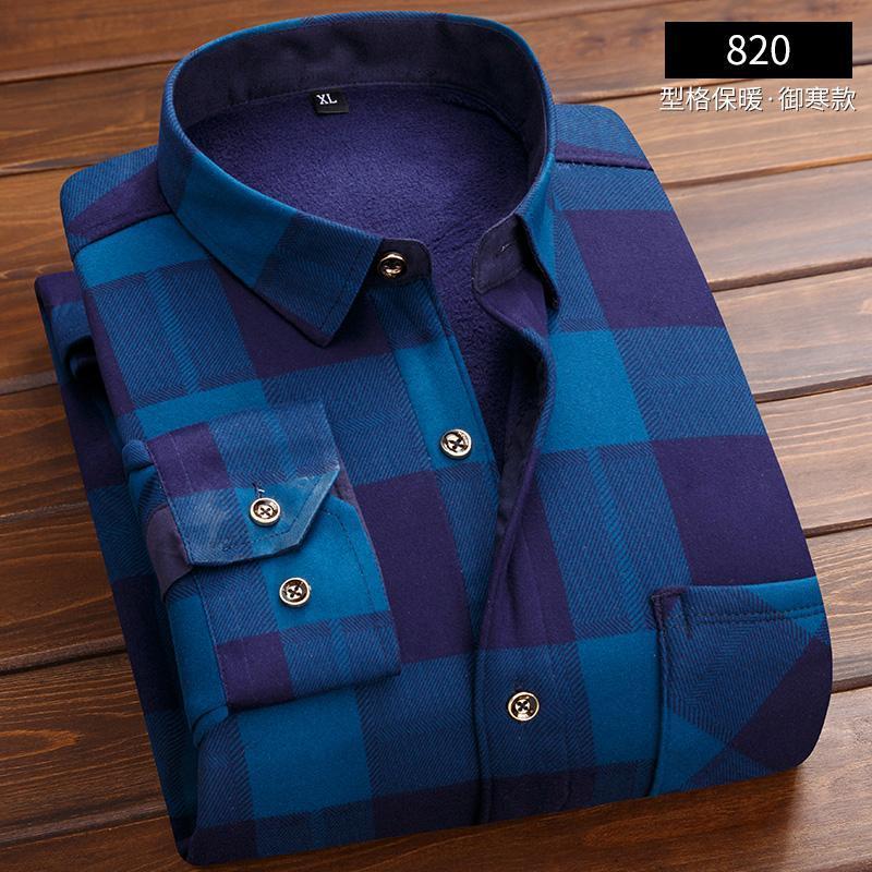 Плед фланель 2019 новые мужские держать теплый с длинными рукавами нагрудный карман на молнии элегантная повседневная классика контраст стандарт-Fit длинный рукав платье рубашки