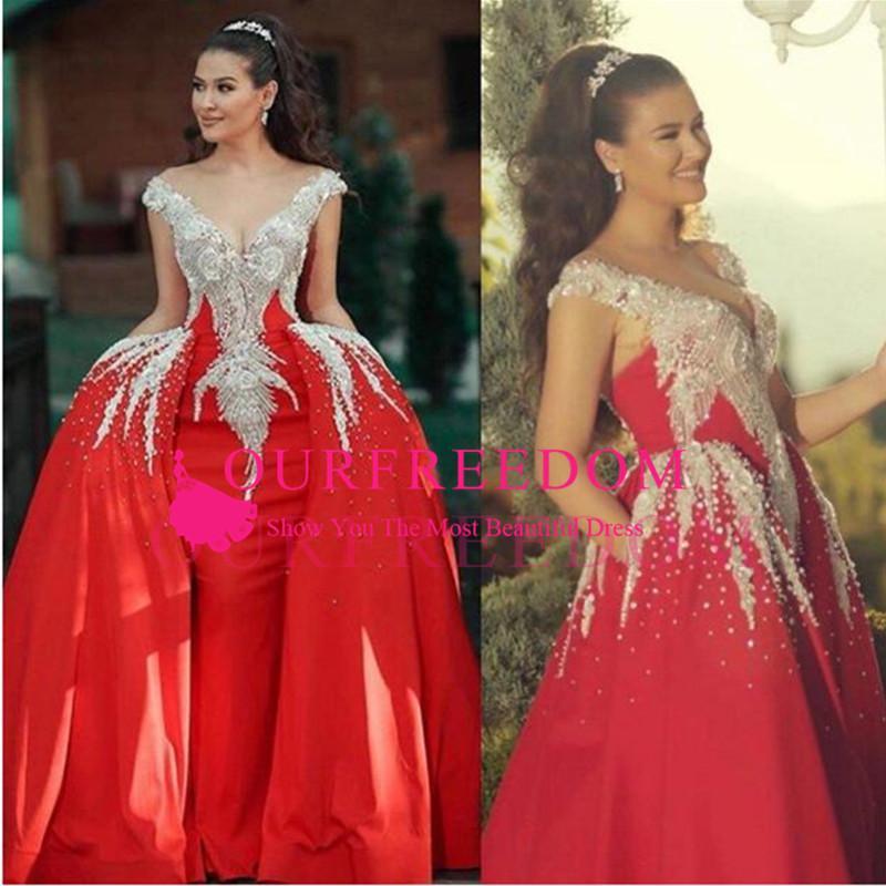 2020 gorges gorgesques robes de bal avec un train détachable à l'épaule perlée appliquée de la sirène robe de soirée robe à volants balayage