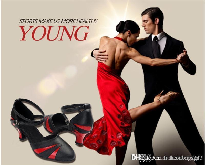 Бальная обувь для взрослых Латинской Tango Женские Крытый танец Современный бальный зал Color Matching танцевальная обувь