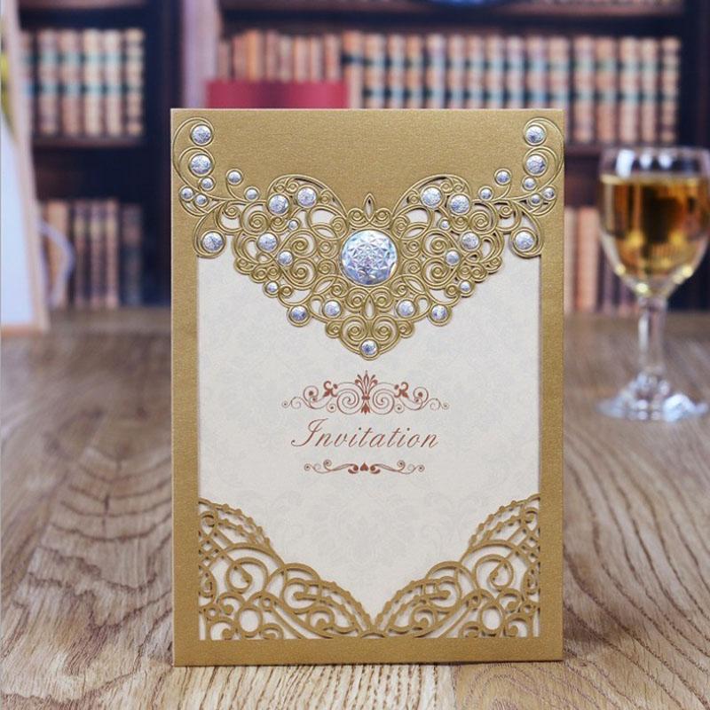 Gold/White/Red Laser Cut elegant Pattern Wedding invitations Card Blank Insert Wedding Card invitations 10pcs/lot