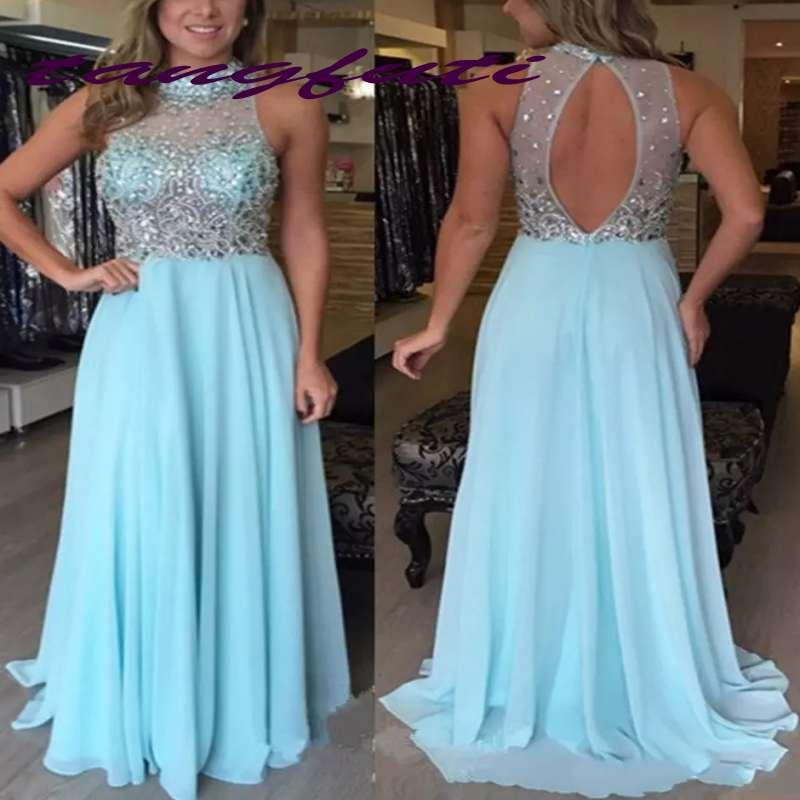 Delicate Open Back High Neck Prom Dresses Sleeveless Beads Sequined Blue Chiffon Formal Evening Gowns Long Prom Dress