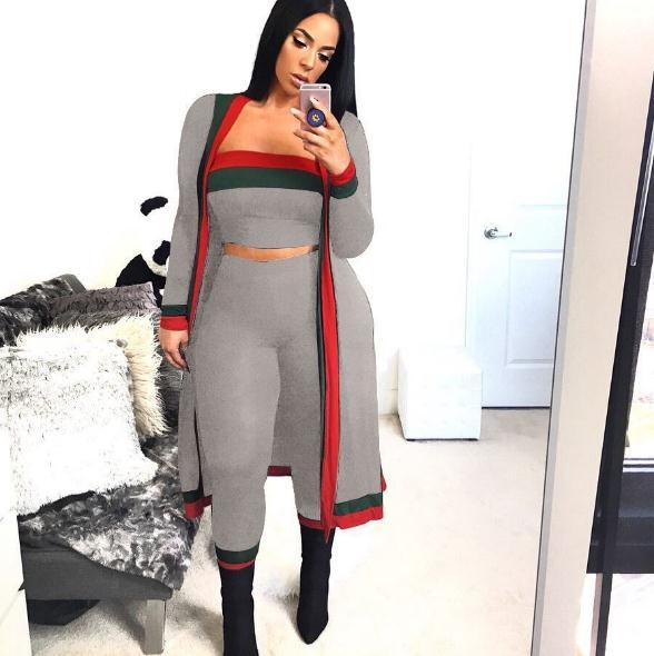 2020 Nova chegada preta listrada 3 peças conjuntos roupas casuais longas capa macacão macacão bodysuit mulheres conjuntos de roupas fostumes plus size wo