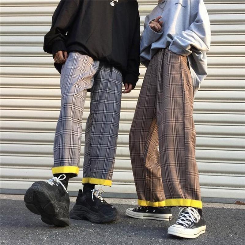 2020 Verão soltos Calças Mulheres Moda Plaid Streetwear Calças Feminino Casual Mulher cintura alta calças perna larga Joggers Sweatpants