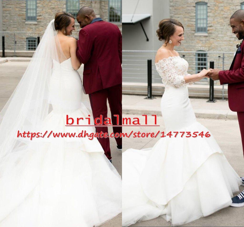 Afrique 2019 Blanc Sirène Pays Robes de Mariée avec manches mi-longues Manteau Traîne Garden Beach Robes de mariée Robe de novia Plus Size