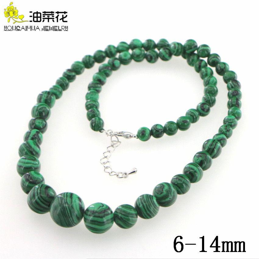 6-14 мм натуральный зеленый Турция Малахит ожерелье женщины девушки бусины камень 18 дюймов ювелирные изделия делая дизайн День матери подарки оптом