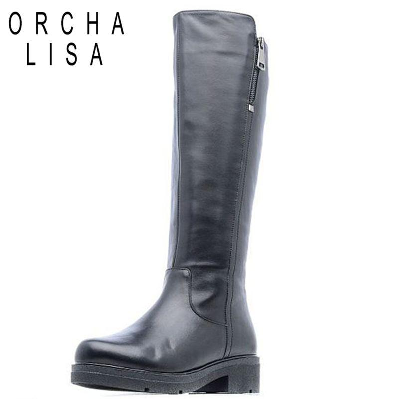 ORCHA LISA Genuine Top Quality Genuine leather Round Toe Atmosphere knee high boots Zipper Winter Boots Botas FemininaJ413