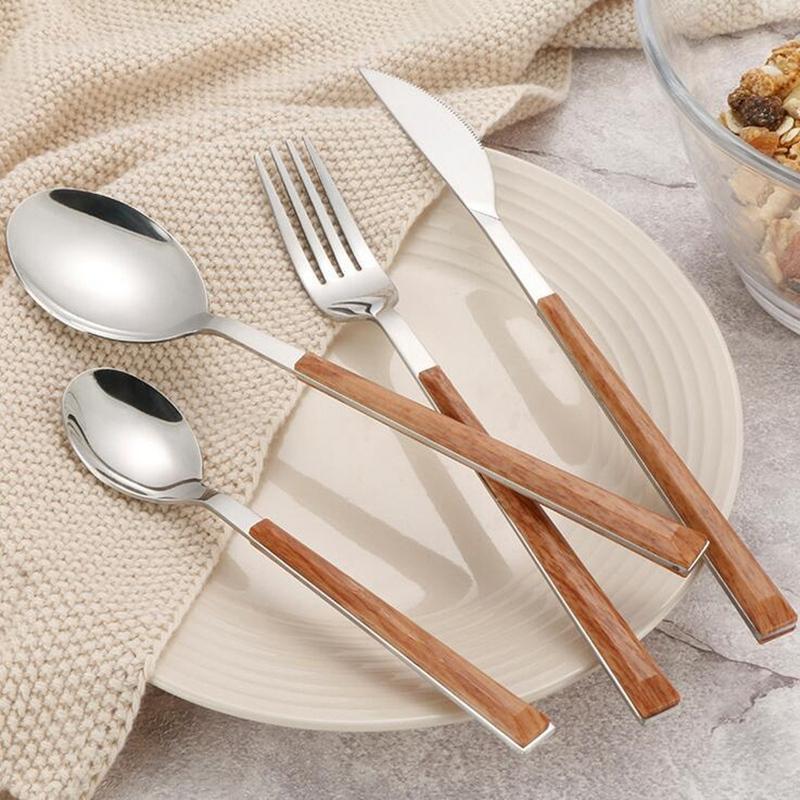 4pcs 304 acero inoxidable del vajilla de plata brillante de madera Vajilla Sets occidental comida cuchillo tenedor cucharadita Cubiertos