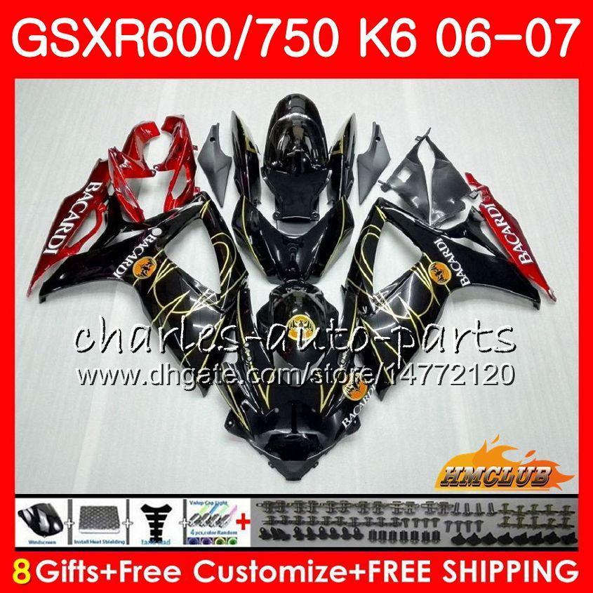 Lichaam voor Suzuki GSX R600 GSX R750 GSXR600 2006 2007 8HC.11 GSX-R600 GSXR-750 K6 GSXR 600 750 06-07 BACARDI BATS GSXR750 06 07 FUNINGSET