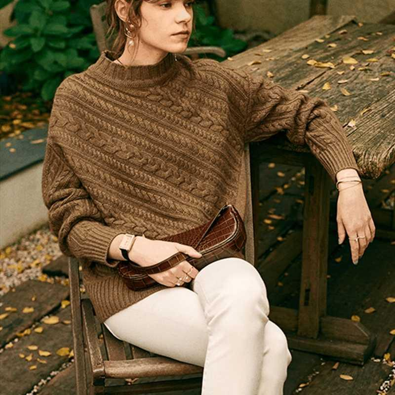 Smpevrg automne femmes pull en cachemire épais d'hiver à manches longues pullovers femmes demi pull femme col haut tricotés chandails